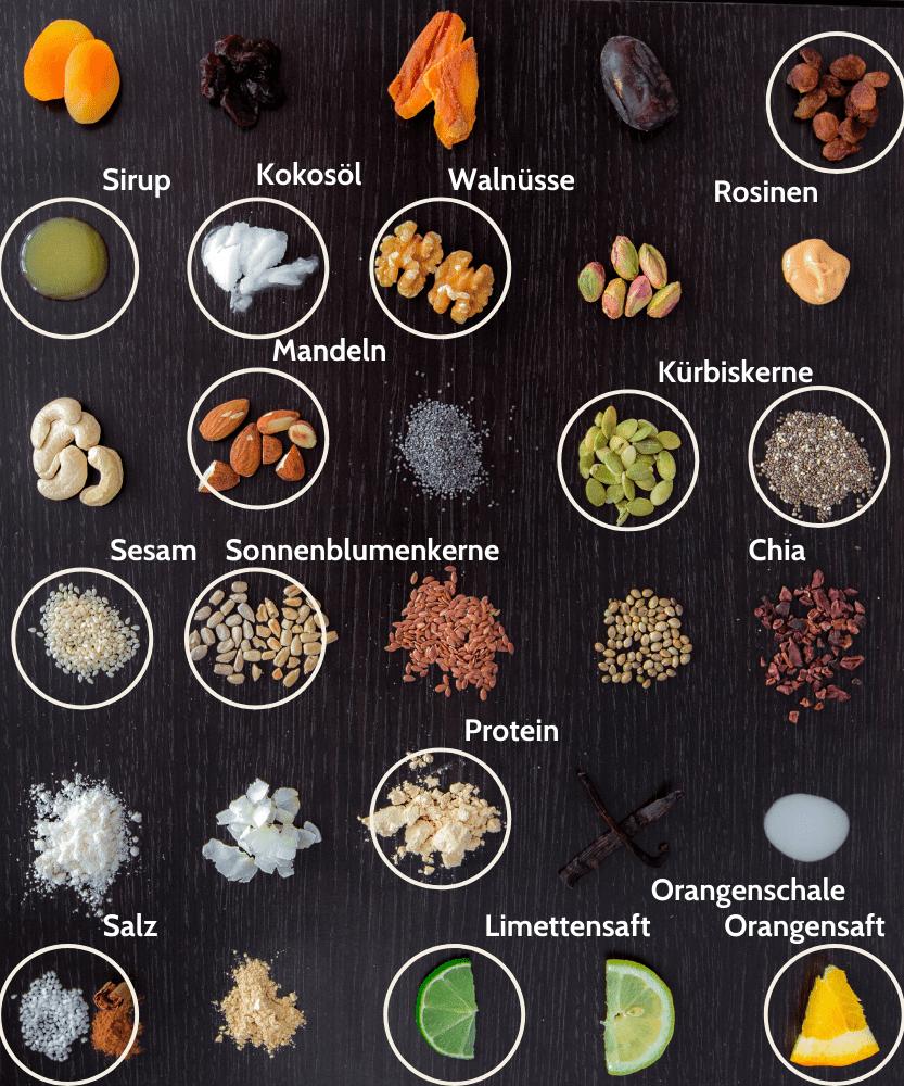 Paleo Orange Nuss Proteinriegel Zutaten