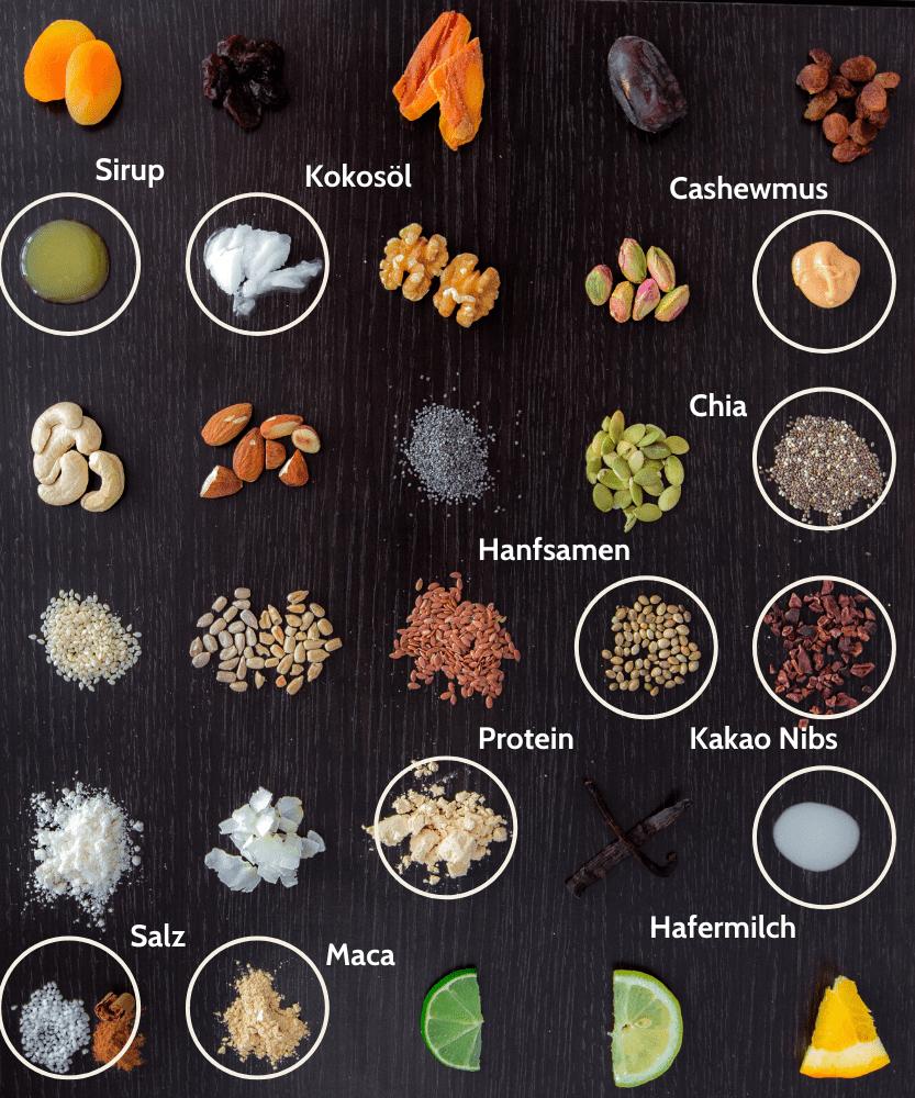 Paleo Maca Toffee Proteinriegel Zutaten