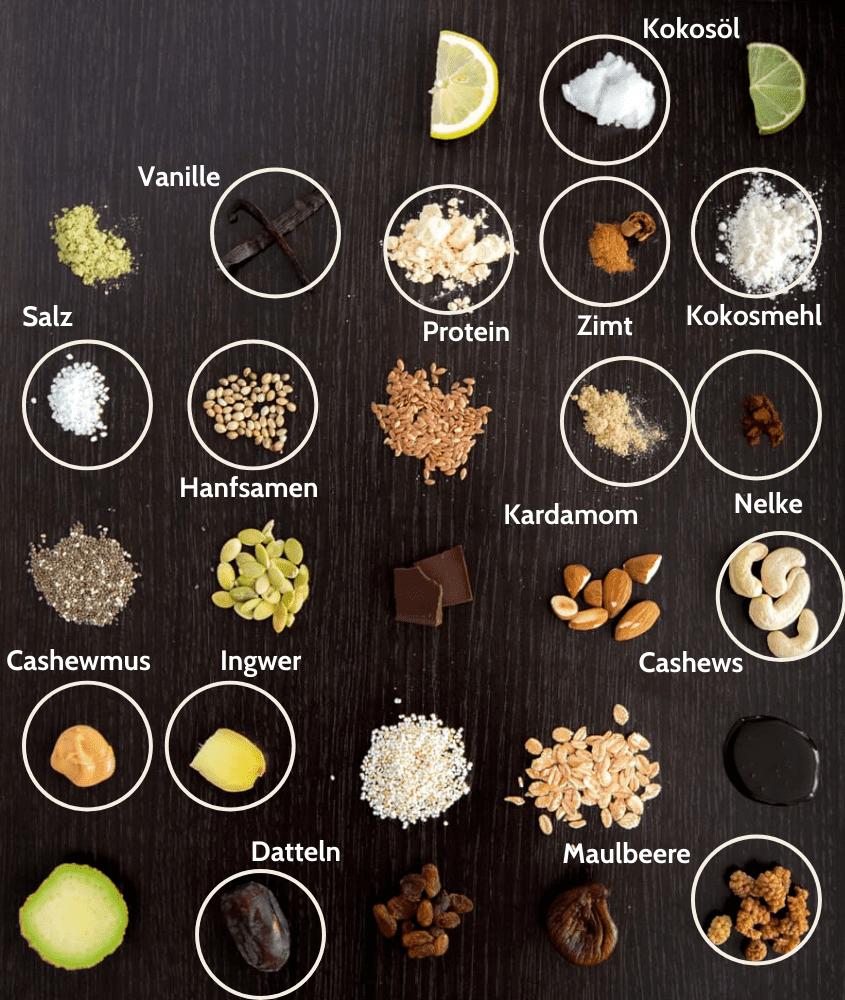 Superfood Cashew Vanille Chai Proteinriegel Zutaten