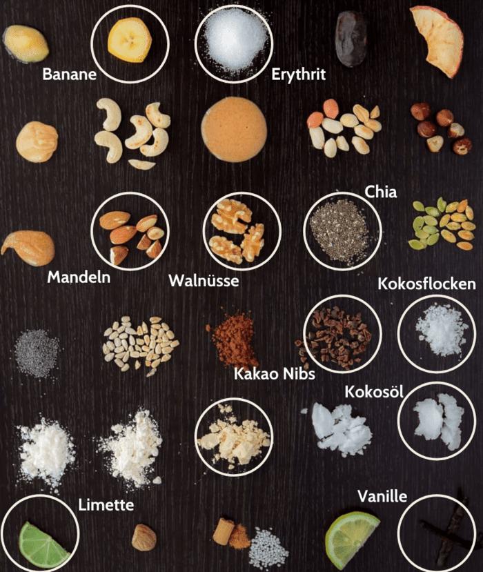 Schoko Kokos vegan Low Carb Zutaten