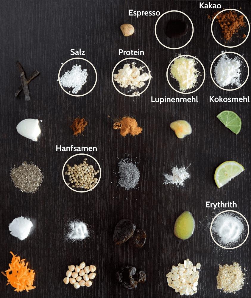 Diät Mocha Proteinriegel Zutaten