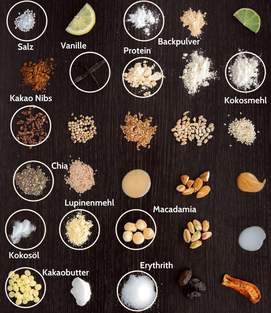 Keto Macadamia Nibs Proteinriegel Zutaten