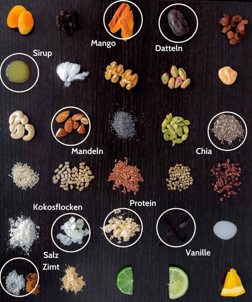 Paleo Mango Kokos Proteinriegel Zutaten