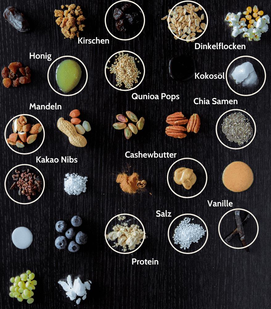 Süßigkeitenersatz Mandel Kirsche Proteinriegel Zutaten