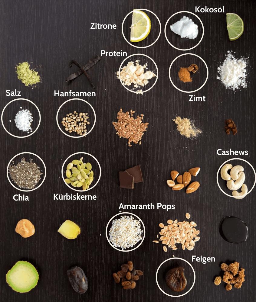 Superfood Feige Schoko Proteinriegel Zutaten
