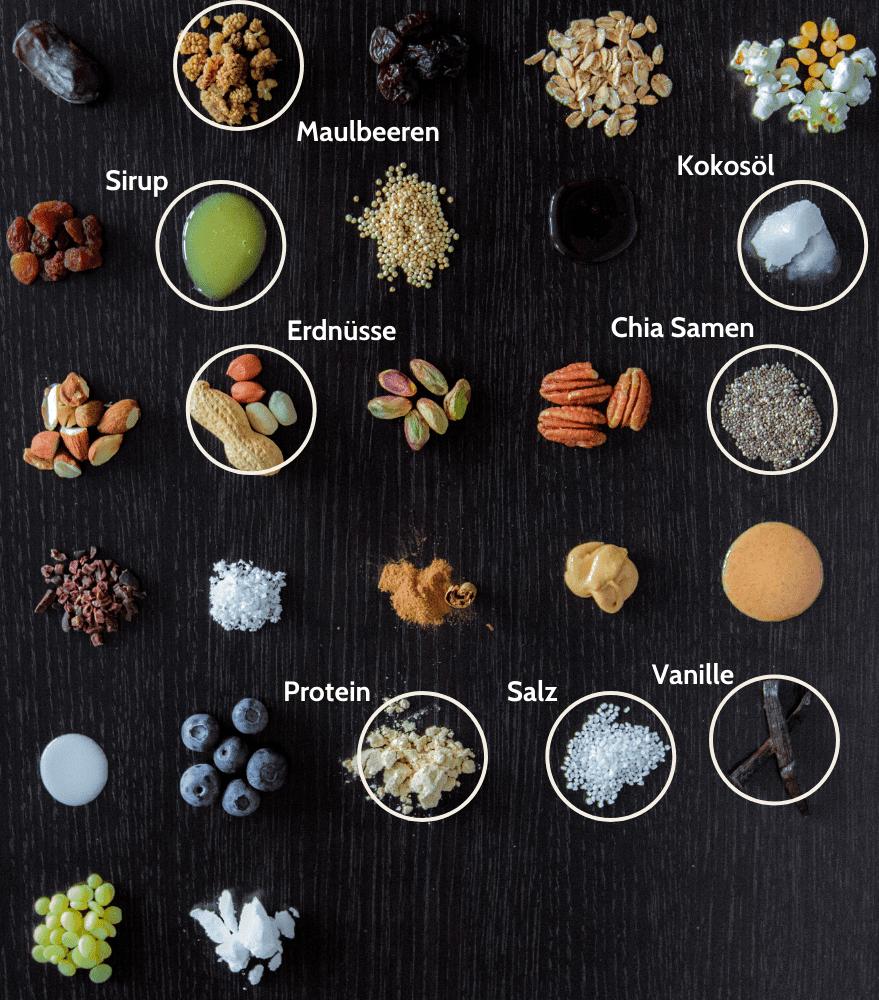 Süßigkeitenersatz Maulbeere Erdnuss Proteinriegel Zutaten