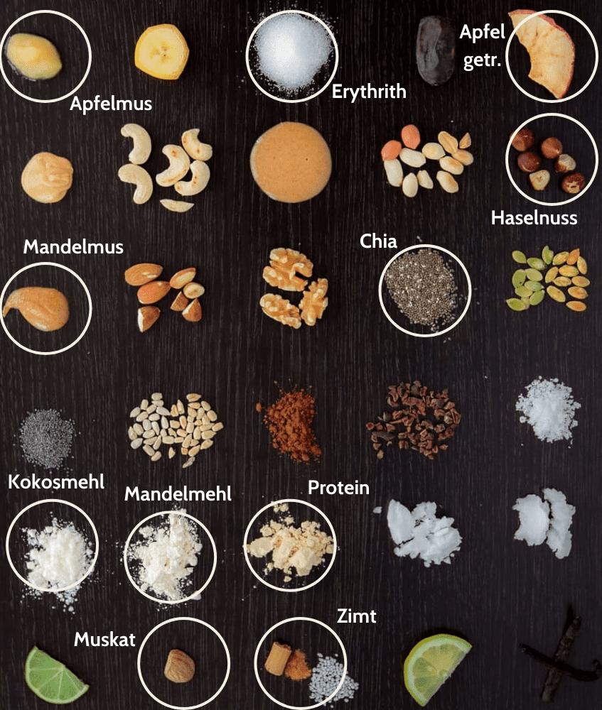 Low Carb Apfelkuchen Proteinriegel Zutaten